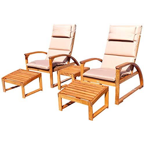 SET 2x großer Deckchair Sonnensessel BARBUDA mit Kopfpolster extrem robust inkl Fußauflage und 1x Beistelltisch von AS-S