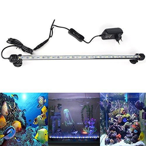 DOCEAN Aquarium LED Beleuchtung Leuchte Lampe 27 LEDs 5050SMD 48CM Lighting für Fisch Tank EU Stecker weißlicht Blaulicht Wasserdicht Energieklasse A