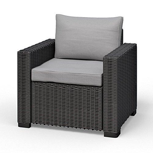Allibert California Lounge Sessel Polyrattan Gartenmöbel Rattanoptik graphit inkl Auflagen