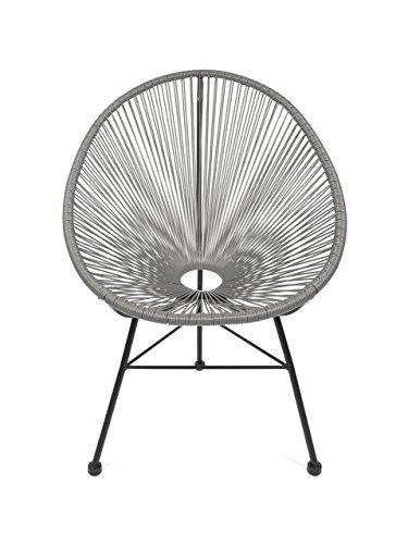 Retro Acapulco Lounge Relax Sessel Chair Indoor Outdoor Rahmen Füße Pulverbeschichtet Farbe Grau