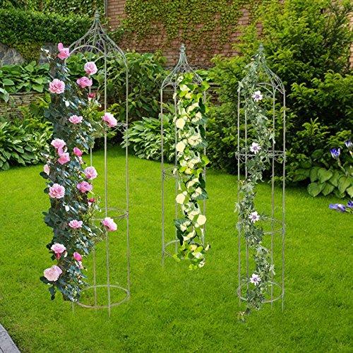 BURI Metall Rankhilfe antik grün 3er-Set Rankgitter Rosensäule Obelisk Spalier Garten