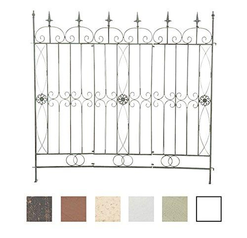 CLP Eisen-Gartenzaun Mangold I Individuell erweiterbarer Rankzaun I Rankgitter im Landhausstil I In Verschiedenen Farben erhältlich Antik Grün