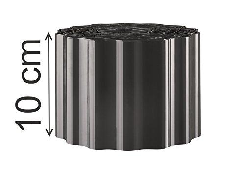 EXCOLO Rasenkante 9m lang 10cm hoch Rasenumrandung Beetbegrenzung Raseneinfassung Mähkante in grau schwarz anthrazit Sinuswelle
