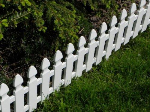 Zaun Rasenkanten Beeteinfassung Palisade Beetumrandung Garten Rasen Zierzaun Gartenzaun weiß 200 m Set 4 Module