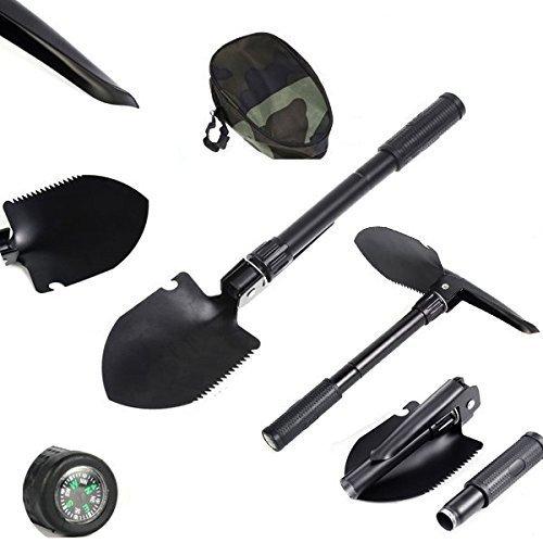 UVISTAR Mini Schaufel Leicht Set Klappspaten Kompass Hacke Säge mit Tasche Mutifunktion Rostfrei Praktisches Mutitool für Outdoor Camping Garten Schwarz  Klein