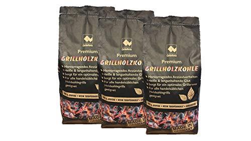 CARBOGARDEN Premium Buchen Grill-Holzkohle DINplus Zertifiziert ohne Tropenholz in Restaurantqualität 3 x 3 kg