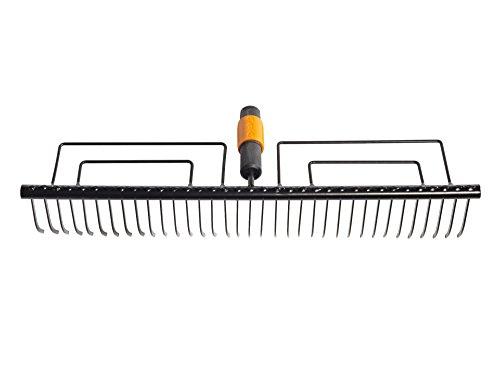 Fiskars Rasenrechen mit 35 Zinken Werkzeugkopf Breite 57 cm Gehärtete Stahlzinken Schwarz QuikFit 1000656