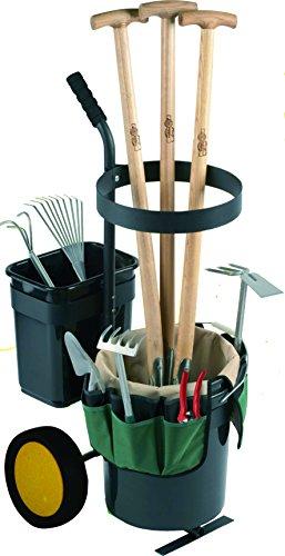 UPP Garten-Werkzeug-Trolley - Transport Aufbewahrung von Gartenwerkzeug - TransportkarreSackkarre bis max 40 kg belastbar - Gartenwagen Werkzeugwagen inkl praktischer 12 Fächer Tasche