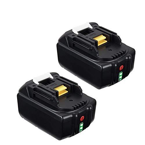 LYPULIGHT BL1850B 18V 50 Ah Lithium Ersatzakkus 2 Stück Kompatibel Werkzeug Akku Makita BL1860B BL1860 BL1850B BL1850 BL1840B BL1830B BL1845 194205-3194309-1194204-5 LXT-400 mit Lndikator