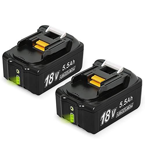 NeBatte 2x BL1860B 18V 55 Ah Lithium Ersatzakkus 2 Stück für werkzeug akku Makita BL1860B BL1860 BL1850B BL1850 BL1840B BL1840 BL1830B BL1830 BL1820 LXT-400 mit Indikator