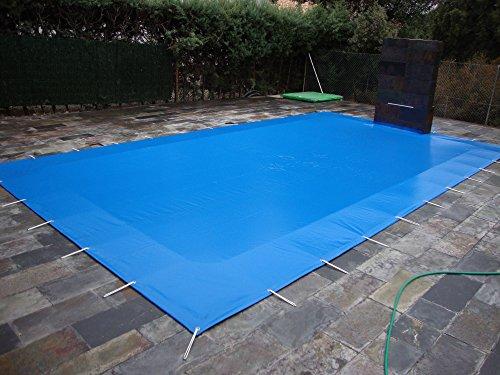 Winter-Abdeckplane für Pools mit 8 x 5 Metern Winterschutzabdeckung aus PVC mit 650 gm2 9x6 metros Blau außen  Schwarz Innen