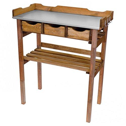 Pflanztisch 78x38x86cm Holz Tisch verzinkte Arbeitsplatte m 3Schubladen