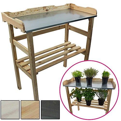 Pflanztisch aus Holz 82 x 78 x 38 cm mit verzinkter Metall-Arbeitsfläche Gartentisch aus FSC zertifiziertem Holz mit Ablagefläche Wetterfest Holzpflanztisch für Garten Balkon und Terrasse FarbeNatur