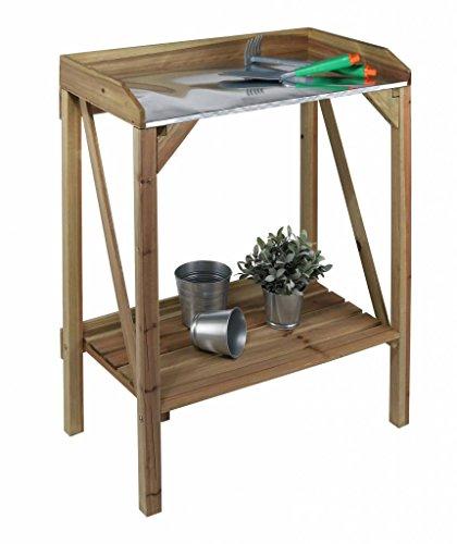 Pflanztisch aus Holz mit verzinkter Arbeitsfläche und Ablage 62907