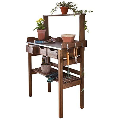 Pflanztisch für Garten Terrasse Balkon 3 Schubladen 3 Haken Holz verzinkte Metall-Arbeitsfläche braun ca 78 x 38 x 112 cm