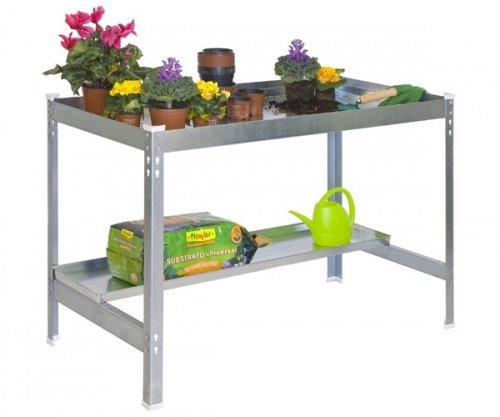 ontra GmbH Pflanztisch Gartentisch 84x90x60cm verzinkt 400kg inkl Ablagefläche Größe 84x120x60 cm - 600kg