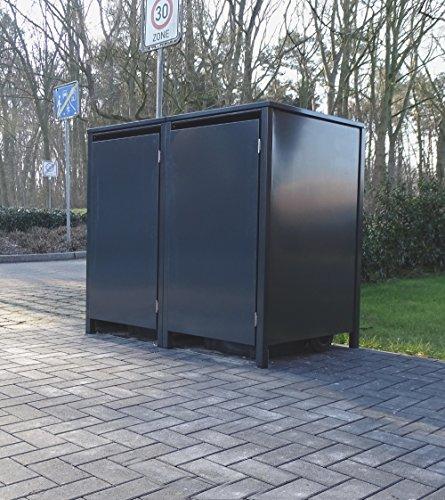 2 Mülltonnenboxen ohne Stanzung für 120 Liter Mülltonnen  komplett Anthrazit RAL 7016  witterungsbeständig durch Pulverbeschichtung  mit Klappdeckel und Fronttür
