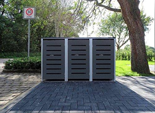 3 Mülltonnenboxen Modell No6 Anthrazitgrau für 120 Liter Mülltonnen  witterungsbeständig durch Pulverbeschichtung  mit Klappdeckel und Fronttür