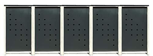 5 Tailor Mülltonnenboxen Basic Duo für 120 Liter TonneStanzung 3  Farbe RAL 7016 AnthrazitRahmen RAL 9006 hell GrauVerschönern Sie Ihre unansehnliche Mülltonnen in Ihrem Hof und Garten