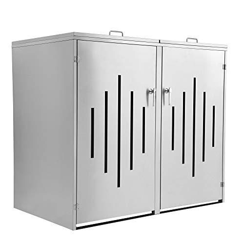 Zelsius Edelstahl Mülltonnenbox Stripes für 2 Mülltonnen je 120 undoder 240 Liter Mülltonnenverkleidung mit 2 Klappdeckel Metall Müllbox abschließbar