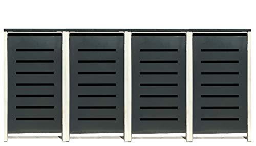 4 Tailor Mülltonnenboxen Basic Duo für 240 Liter TonneStanzung 6  Farbe RAL 7016 AnthrazitRahmen RAL 9006 hell GrauVerschönern Sie Ihre unansehnliche Mülltonnen in Ihrem Hof und Garten