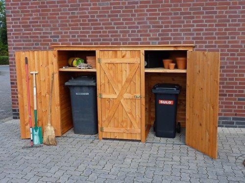 Gero metall Mülltonnenschrank Mülltonnenbox für Drei 240 Liter Tonnen in Holz Farbton Honigbraun Modell BQ3