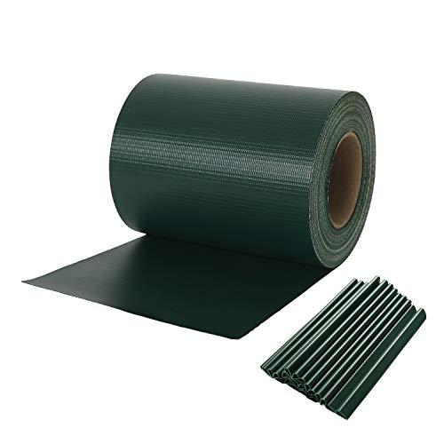 Naimorui PVC Sichtschutzfolie Sichtschutzstreifen Garten Sichtschutz Zaun Inkl 20 x Befestigungsclips 450gm² - Diverse Modelle - 19cm35m Grün