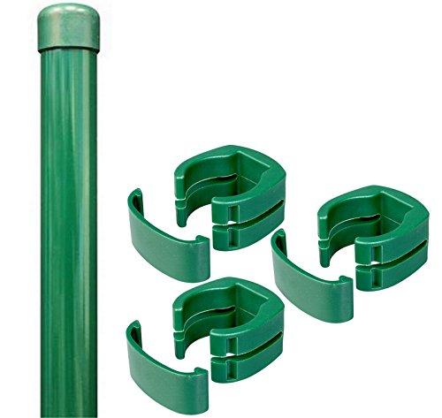 Zaunpfosten  Fix-Clip-Pro Pfosten Maschendraht Zaun grün 200cm 34mm Gitterzaun Zaun