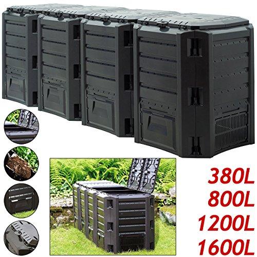 Komposter ✔ 800L ✔ 135 x 72 x 83cm ✔ witterungsbeständig ✔ Deckel klappbar  Gartenkomposter Thermokomposter Schnellkomposter