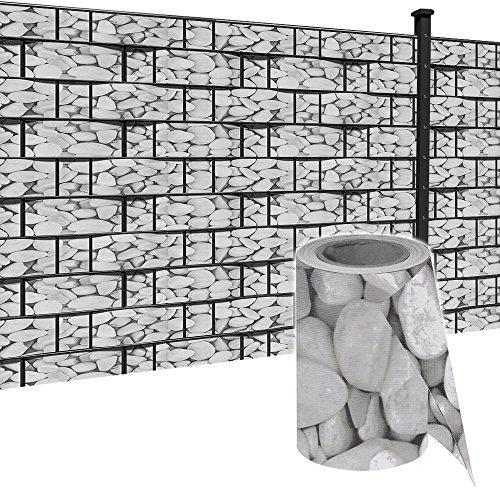 HENGMEI 35m x19cm Sichtschutzfolie PVC Sichtschutzstreifen mit Zaunfolie Befestigungsclipse Windschutz Stabmattenzaun Gartenzaun Blickdicht Doppelstabmatten für Gartenzaun Balkon Marmorkies 35m