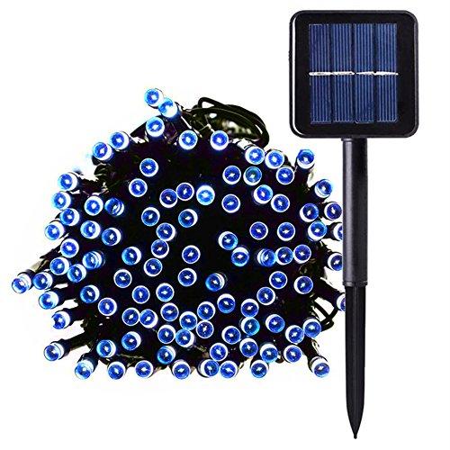 Lichterkette 100 LEDs DrauenInnenbeleuchtung Solarbetriebene 10M Kupferdraht 8 Modi Wasserdicht IP65 f¨¹r GartenZaunSonnenschirmTerrasseDachPartyHochzeitFestspiele und Haus Deko Blau