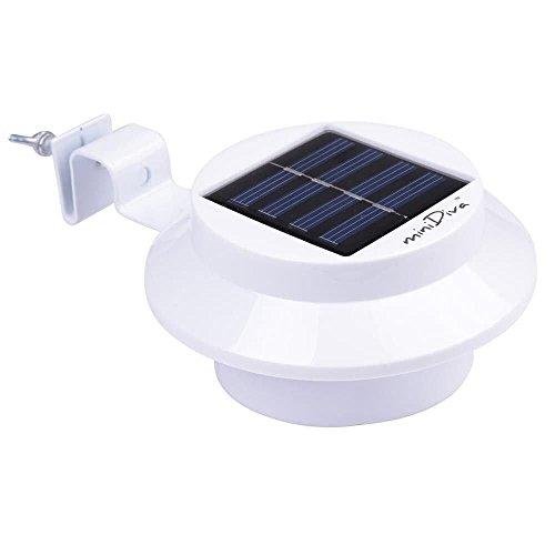 Minidiva Solar Zaun Licht mit 3 LEDs - Garten Solarleuchte für Haus Zaun Garten Garage und Gehweg Beleuchtung weiß
