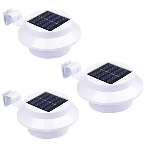 NORDSD 3er Set Solar Zaun Licht mit 3 LEDs - Garten Solarleuchte für Haus Zaun Garten Garage und Gehweg Beleuchtung warmweiß
