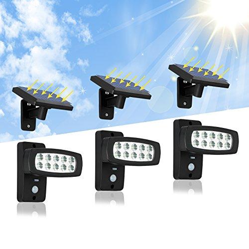 OUBO LED Außenleuchten Solarleuchte mit Bewegungsmelder Gartenhaus mit 23M Verlängerungskabel für Garten Patio Zaun Hof Balkon Terrasse Haus Auffahrt 3er Set