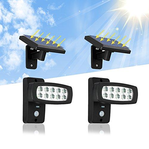 OUBO LED Solarleuchte Außenleuchten mit Bewegungsmelder mit 23M Verlängerungskabel für Garten Patio Zaun Hof Balkon Terrasse Haus Auffahrt 2er Set …