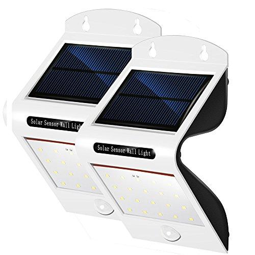 PUNICOK 2er Set Solarbetriebene LED Leuchten mit Bewegungsmelder - IP65 wasserdichte Außen Solarlampen - 20 einzelne LEDs - sehr hell 6500K Weiss - Beleuchtung f Haus Wand Garten Zaun Terrasse Gehweg - Einfache Montage ohne Kabel