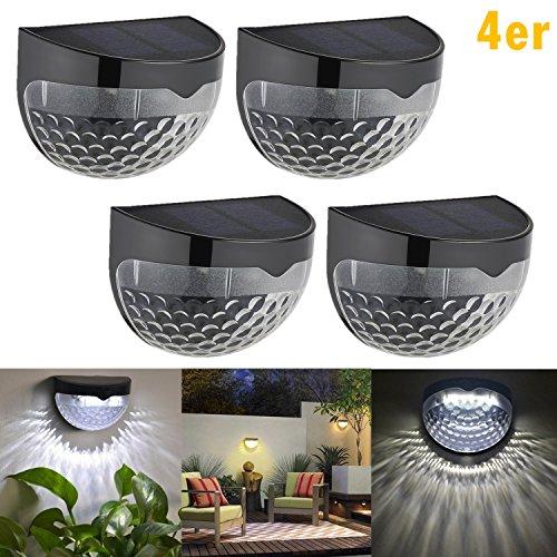 Qulista 4 Stück LED Solarleuchte mit 6 LED-Lampen Gartenleuchte Solarlampen für Außen Wandleuchte Halbkugel Wasserdicht für Haus Zaun Garten Garage Schuppen Treppe Garten Deko