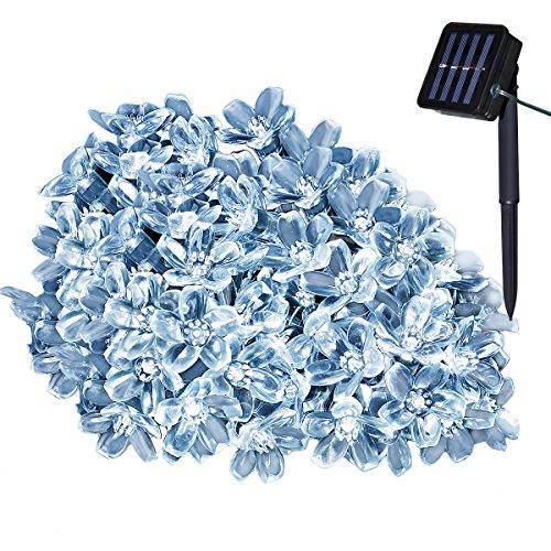 Yasolote Solar Lichterkette Außen Wasserdicht Blumen LED Außenlichterkette 5m 50 LED 8 Modi Beleuchtung für Haus Garten Balkon Pavillon Terrasse Rasen Hof Zaun Hochzeit Fest Deko Weiß