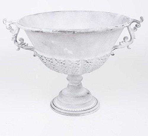 Metall Pokal Antik Design 31 cm weiß  Deko Schale auf Fuß