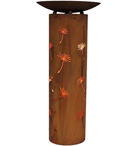 Edelrost Säule Pusteblume rund mit Schale 80cm inkl Herzle 8x6cm Garten Deko Rost
