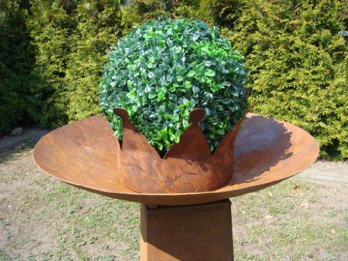 HKC Home Deco Schale aus Metall Rost Feuerschale Deko Pflanzschale Gartendeko Edelrost Durchm 54 cm