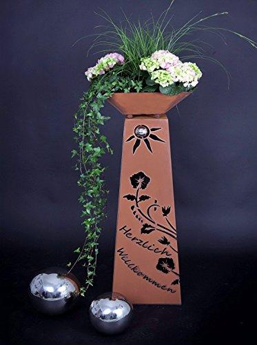 Jabo Design Rost Säule  Schale RS102S11 Säulen konisch Herzlich Willkommen Gartensäulen Säulen Deko Blumen