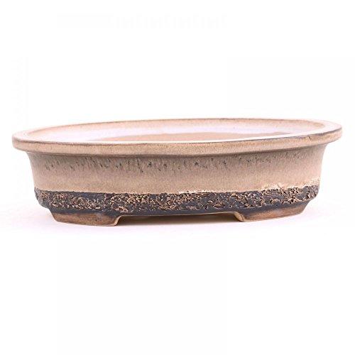 Bonsai - Schale Oval 25 x 18 x 65 cm frostfest Handmade BraunBeige 30329