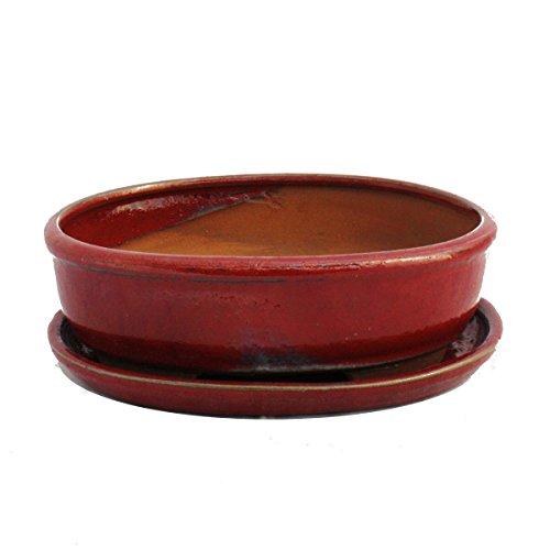 Bonsai-Schale mit Unterteller Gr 8 Zoll - rot - oval - Modell O3 - L 21cm - B 16cm - H 6cm