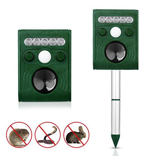 Solar MaulwurfabwehrYica 1 Stück Tiervertreiber Maulwurfabwehr Ultraschall Einstellbare Frequenz Sensor Vertreiber Maulwurffalle Hundeschreck 5 Modus für Garten Bauernhof Glassland gegen Mäuse Marder