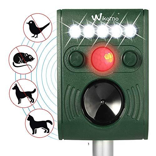 Solar Tiervertreiber Katzenschreck Ultraschall Solarbetriebener Schädlingsbekämpfer imprägnieren Sie im Freien Tiervertreiber mit Ultraschall LED Blinklicht und Bewegungs-Sensor für Katzen Hunde Eichhörnchen Molen Ratten usw