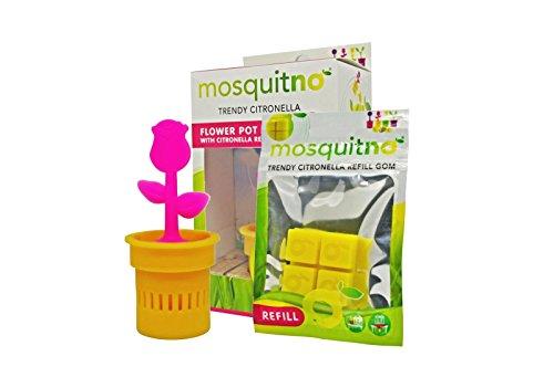 MosquitNo Flower Pot mit Citronella-Schwämmchen Love Insektenschutz Gegen Mücken und Mosquitnoes natürlich und giftfrei Wiederverwendbarer Mückenschutz Kindersicher