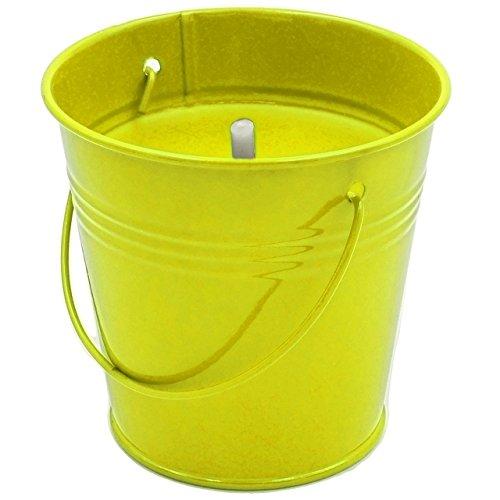 Unbekannt 5 Stück _ große XL - Citronella Kerzen im Metall Eimer -  Anti - Mücken _ Aroma Duftkerze - Zitronen Duft - GELB  - 11 cm hoch - Topf - Bodenkerze - Tischke