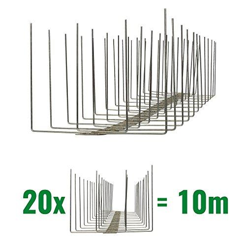 10 Meter Taubenspikes 4-reihig auf V2A-Titan - hochwertige Lösung für Vogelabwehr Taubenabwehr Edelstahl Spikes