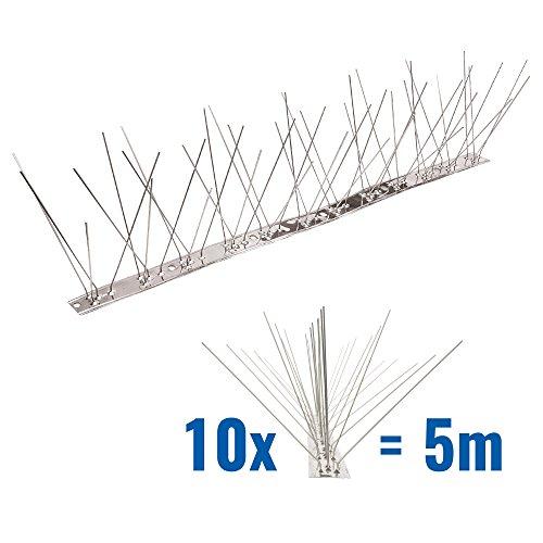 5 Meter Taubenspikes 5-reihig auf V2A-Flexleiste - hochwertige Lösung für Vogelabwehr Taubenabwehr Edelstahl Spikes